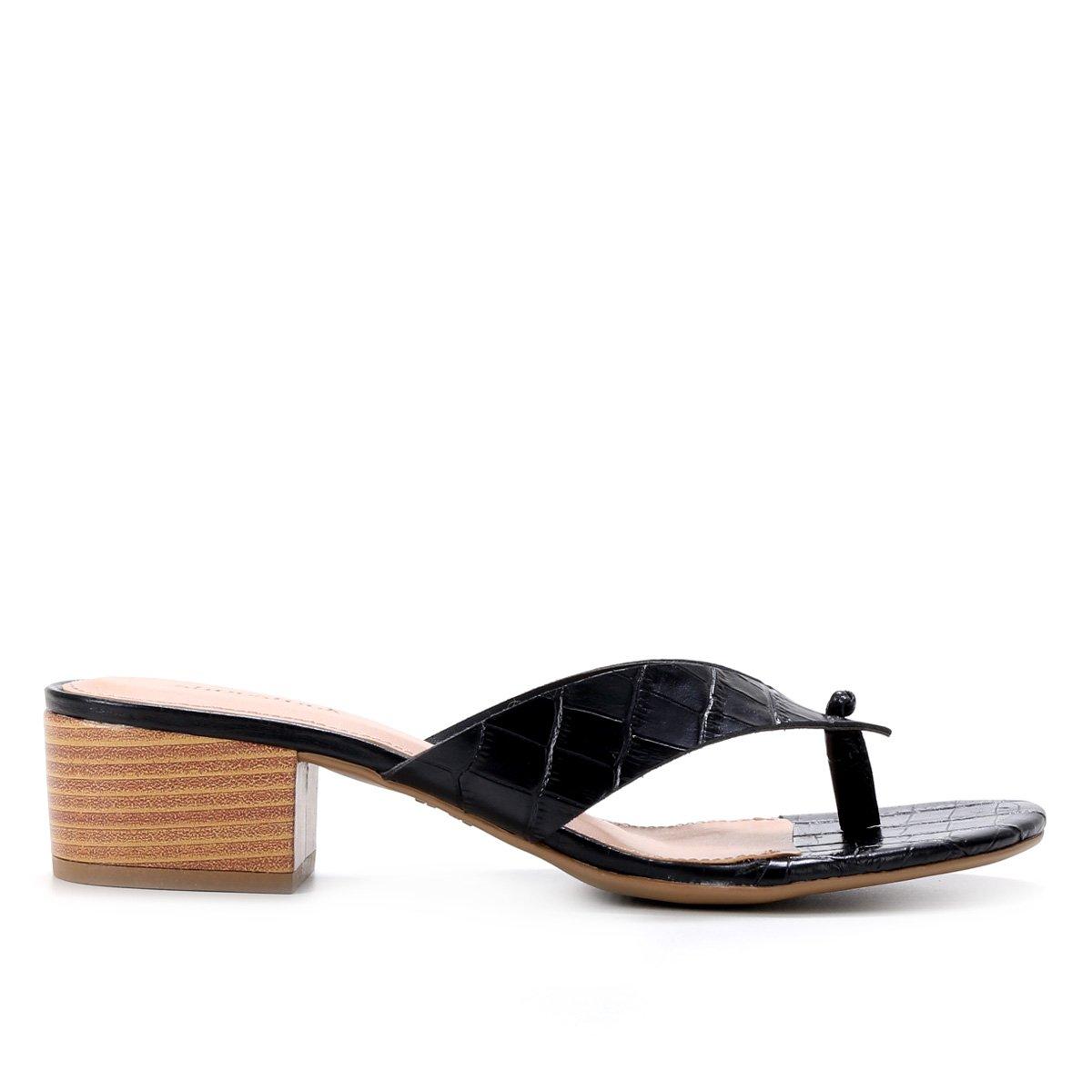 Tamanco Couro Shoestock Croco Salto Bloco