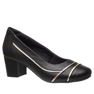 904843ed1 Scarpin Couro Doctor Shoes 289 Salto Grosso Feminino
