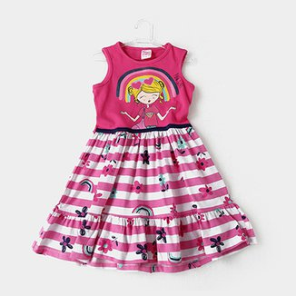 aa3bf36809 Vestido Infantil For Girl Listrado Floral Arco-Íris