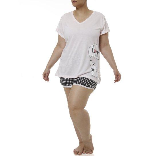 5ca925f10375fa Pijama Curto Plus Size Feminino - Preto