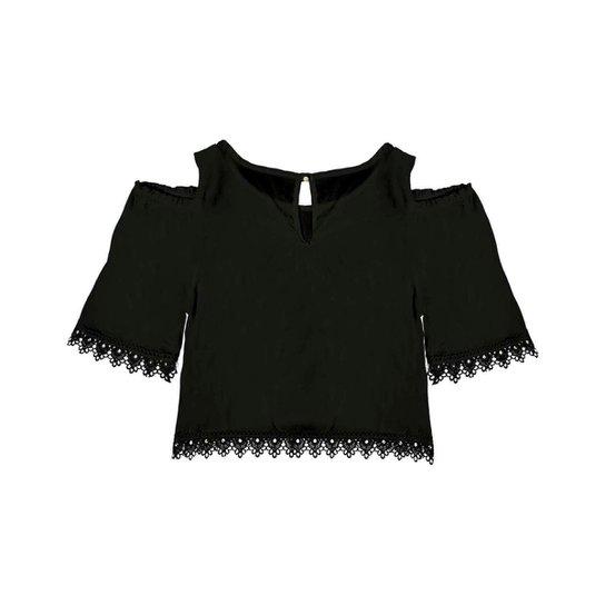 Blusa Infantil Cropped Rovitex Feminina - Preto - Compre Agora  25215d2bb25