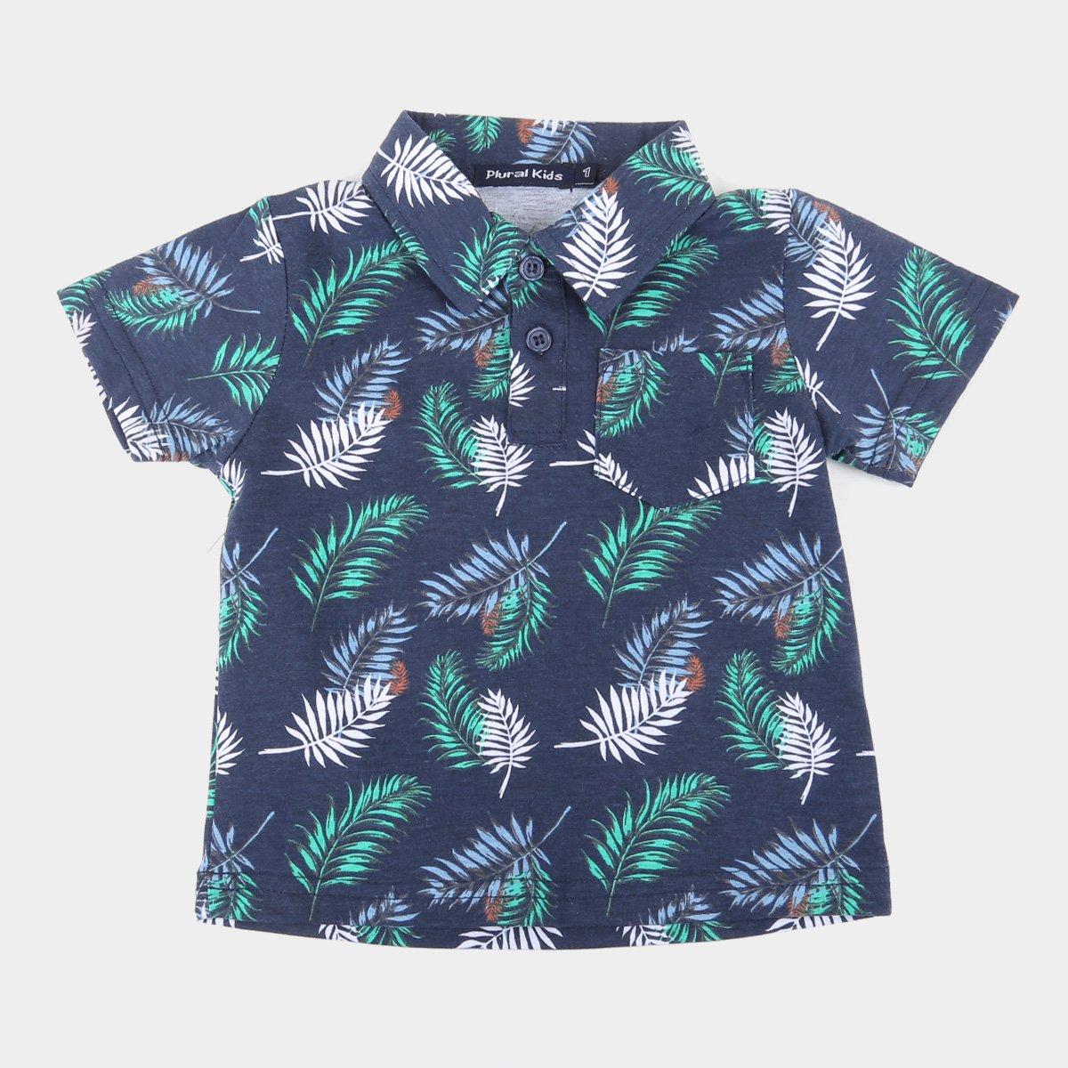 Camisa Polo Infantil Plural Kids Folhagens Masculina