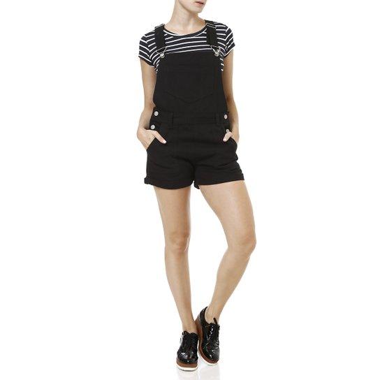 b28c22e5a1 Macacão Jeans Jardineira Feminino Preto - Compre Agora