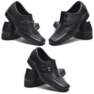 aab5ec2777 Kit 3 Pares De Sapato Social Fox Shoes Couro Masculino
