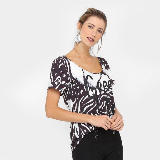 b157202c7 Blusa Morena Rosa Estampada Silk Glitter Feminina - Preto e Branco ...