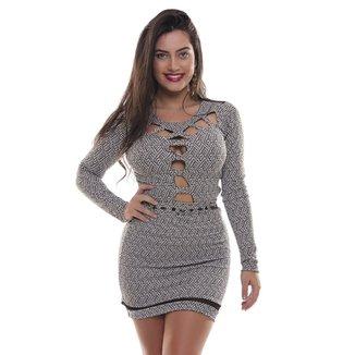 92958d8e1 Vestido Detalhe Em Tule - Rosa Fina - Preto Com Branco - P