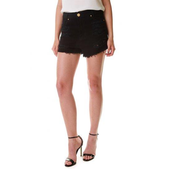 389f8a11fead93 Shorts Color Cintura Alta - Preto - Compre Agora | Zattini