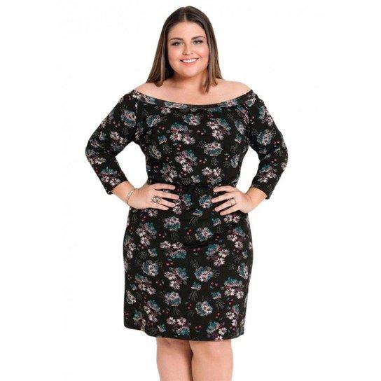 5f4975de2fd7 Vestido Ombro a Ombro Floral Preto Quintess Plus Size | Zattini