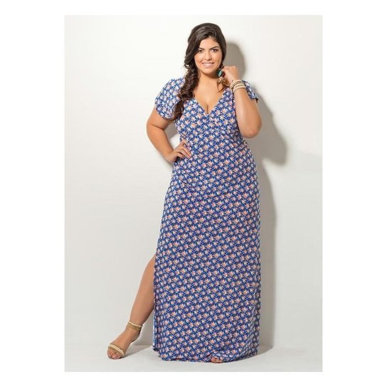 f754caef2 Vestido Longo Floral Quintess com Fenda Plus Size - Compre Agora ...