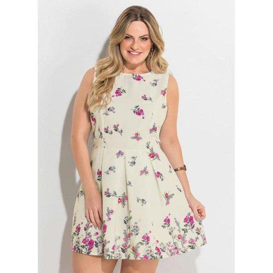 4f9d31e969f5 Vestido Acinturado Floral Quintess Plus Size | Zattini