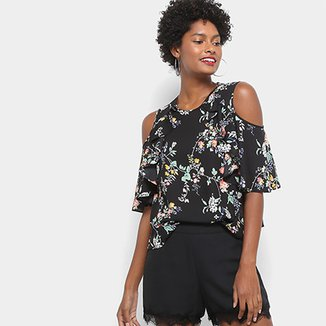 35f7a6ef11 Blusa Drezzup Open Shoulder Floral Feminina