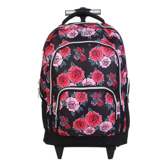 1aab52256 Mochila Escolar DMW Capricho Floral Rodinhas - Preto e Vermelho ...
