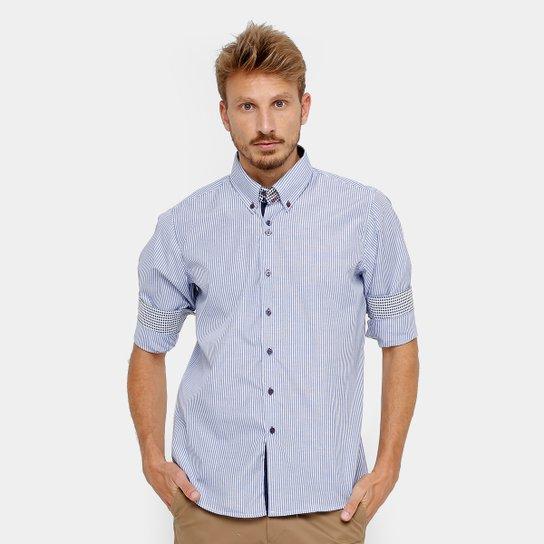 90f8f492e9417 Camisa Social Blue Bay Listrada Manga Longa Masculina - Compre Agora ...