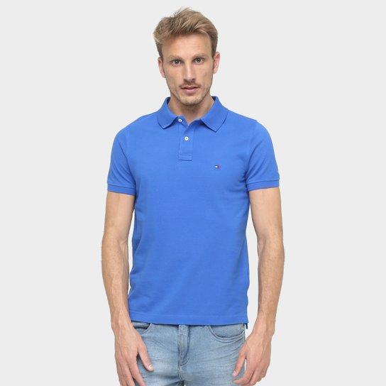 f66be3f01b Camisa Polo Tommy Hilfiger Slim Fit Piquet - Azul