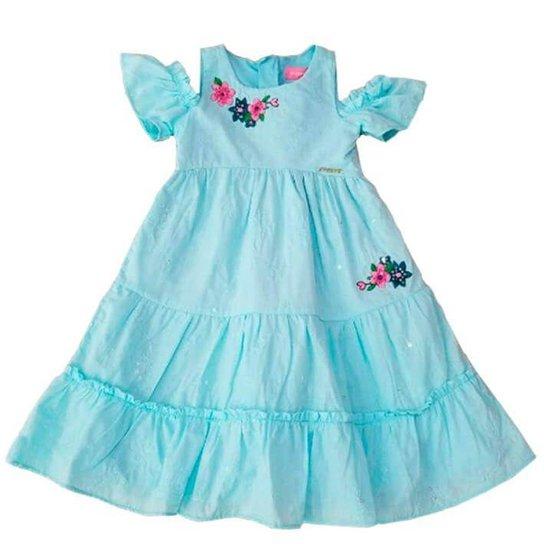 Vestido Infantil Momi Flores - Azul - Compre Agora  b1ec34b1a08