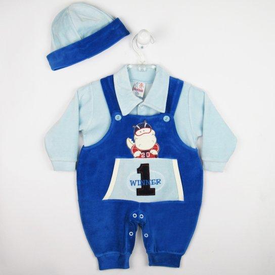 874f72fa7fd83 Jardineira L.Baby Longa Plush Boné - Azul - Compre Agora