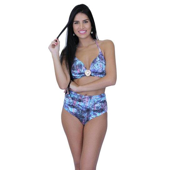 cc23e9d943379b Biquíni Areia Mar Shortinho Cintura Alta Com Bojo Hot Pants - Azul
