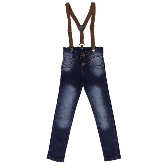 Calça Jeans com Suspensório Infantil - Azul - Compre Agora  7653b08ff6c
