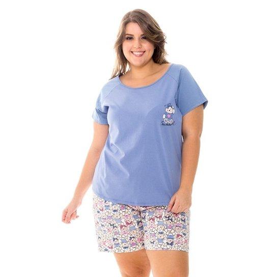 24029870b8539e Pijama Recco Curto de Malha 100% Algodão - Azul