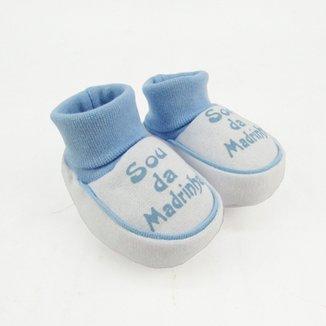 91eb885bdf Pantufa Bebê Masculina Suedine Sou da Madrinha Azul Claro