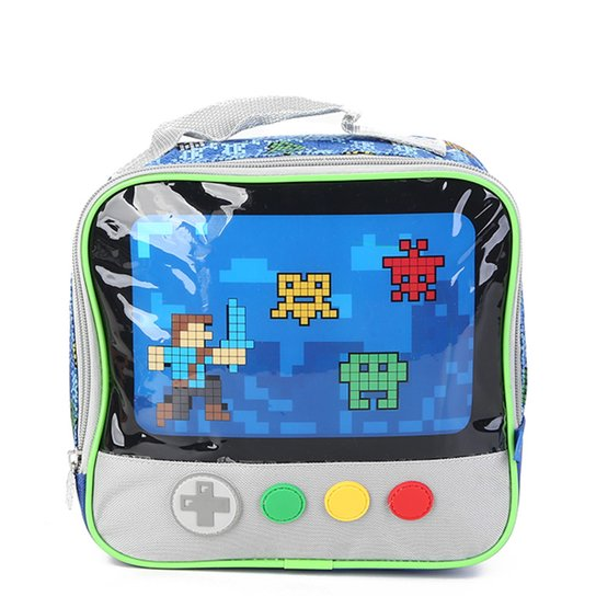 999542763 Lancheira Escolar Infantil Clio Game Masculina - Azul   Zattini