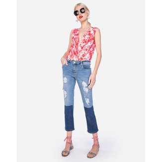 87893a717a653 Calça Amaro Jeans Slim Destroyed