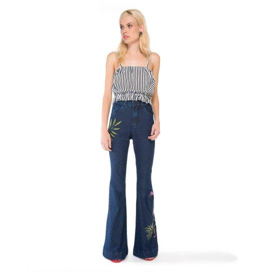 Calça Amaro Jeans Flare Pintada A Mão Flamingo - Azul - Compre Agora ... 5d065437890