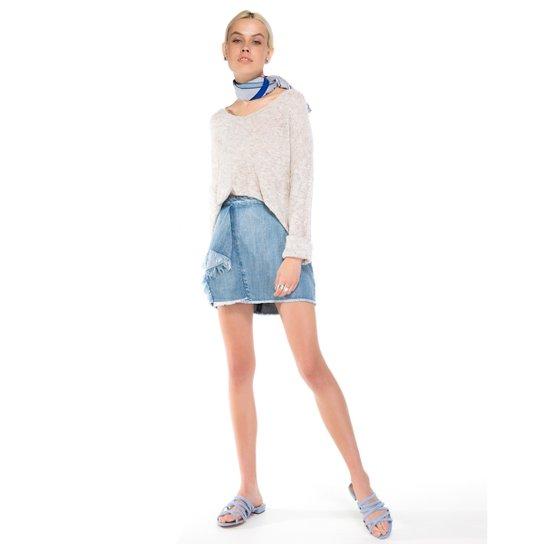 a2f1aa06bb Saia Amaro Jeans Curta Babado Desfiado - Azul - Compre Agora