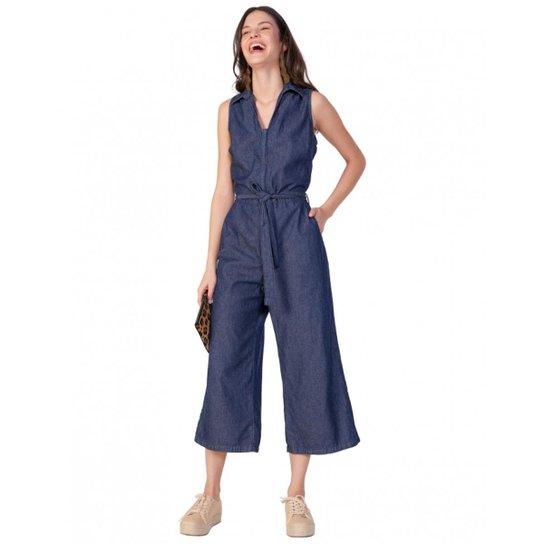 7ebbd834e Macacão Amaro Jeans Regata Pantacourt Feminino - Azul - Compre Agora ...