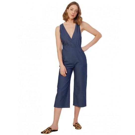 a879458c2 Macacão Amaro Jeans Transpasse Feminino - Azul | Zattini
