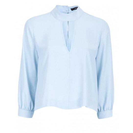 bba22d4b0b Blusa Amaro Crepe Gola Decote V Feminina - Azul - Compre Agora