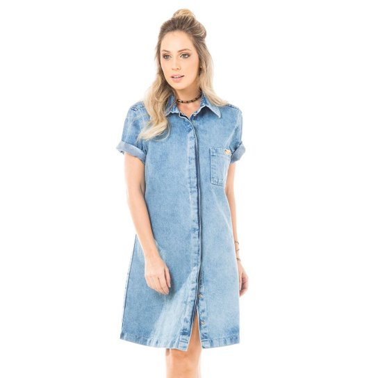 d0ef22753529c1 Vestido Jeans Curto Gabriela Pugliesi Eventual - Azul