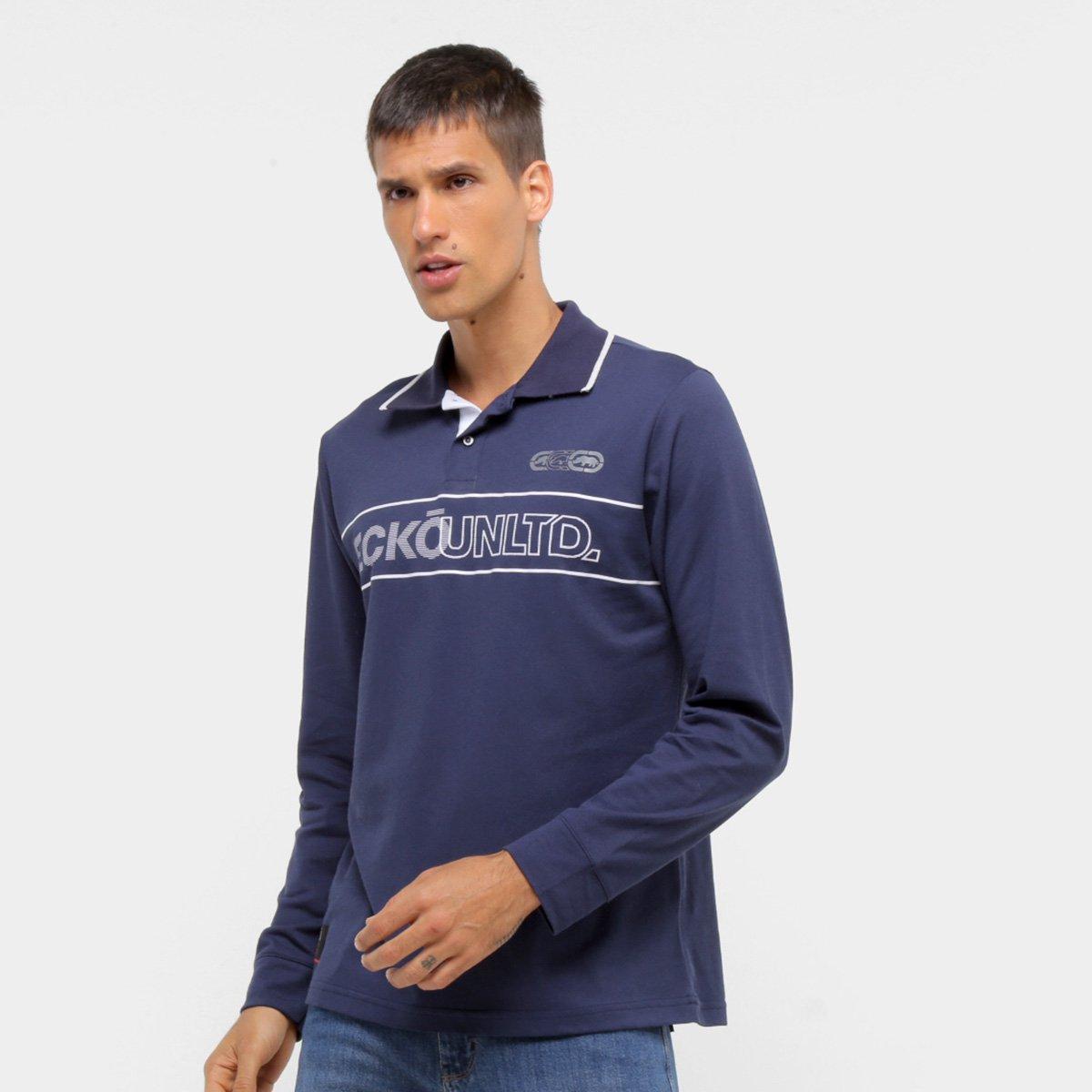 Camisa Polo Manga Longa Ecko Unltd Logo Masculina