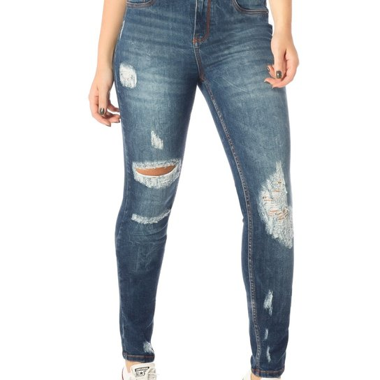 6be2ea236a1f9 Calça Jeans Skinny Média com Marcações Denim Zero-DZ2535 - Compre ...