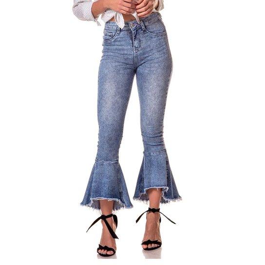0fefe004a0 Calça Jeans Denim Zero Boot Cut Média Cropped Efeito Respingos Feminina -  Azul