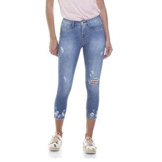 508ab97a2e6b0 Calça Jeans Denim Zero Skinny Cropped Média com Rasgos Feminina