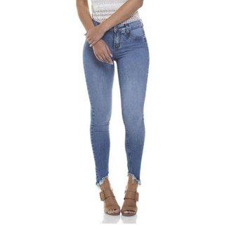3c3e1c82a Calça Jeans Denim Zero Skinny Média Estonada Feminina