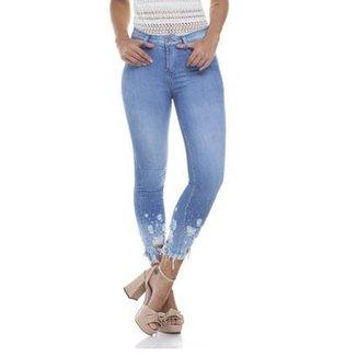 c334f6cff Calça Jeans Denim Zero Skinny Média Cropped Barra Destroyed