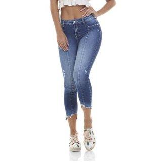 c43fd34bbfe2a Calça Jeans Denim Zero Skinny Média Cropped Recorte Frontal