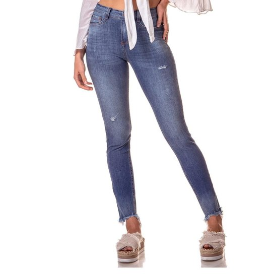 50bebe6a8 Calça Jeans Denim Zero Skinny Média Estonada Feminina - Azul ...