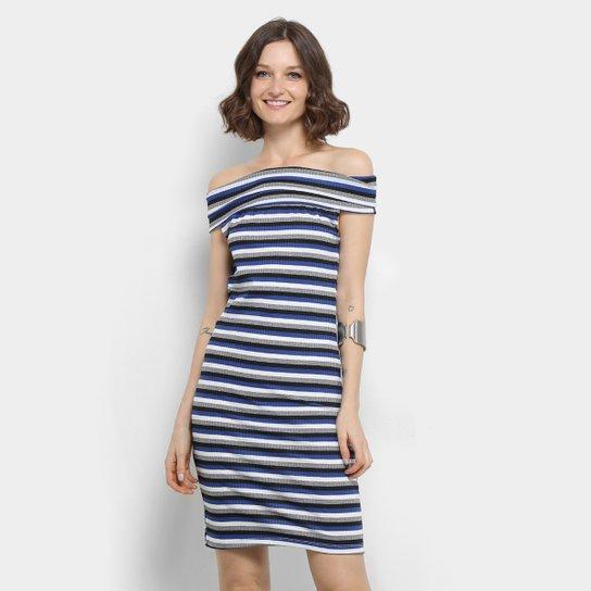 b9797a4570 Vestido Curto Aura Ombro a Ombro Canelado Listrado Feminino - Azul ...