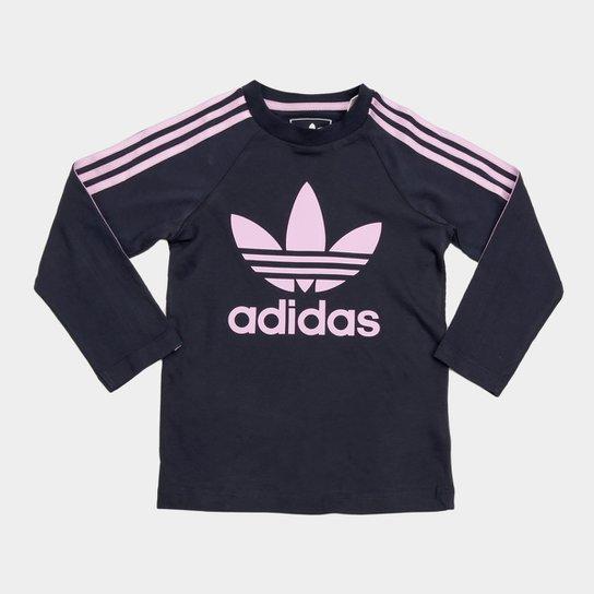 Camiseta Infantil Adidas 3 Stripes Ls Manga Longa Feminina - Compre ... 4c63cfc8995