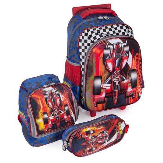 5fbc87f31 Kit Escolar Mochila Infantil com Rodinhas + Lancheira + Estojo Carro Swiss  Move Team Wheels 3D