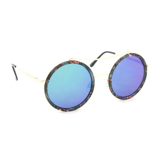 Óculos de Sol Redondo Floral Espelhado - Azul - Compre Agora   Zattini b278269fce