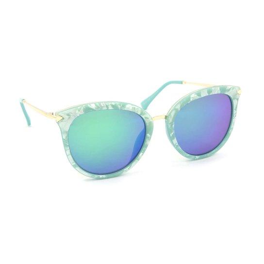 Óculos de Sol Estilo Gatinha Marmorizado Lente Espelhada - Azul ... ffeaa6e0a8