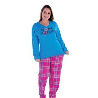 869735e68 Pijama Plus Size Victory Inverno Frio Malha Fria Feminino