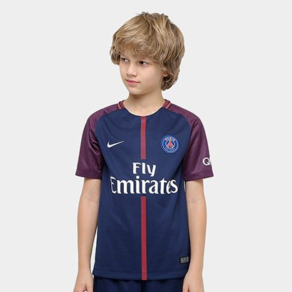 04e91e9271059 ... Camisa Paris Saint Germain Juvenil Home 17 18 s nº Torcedor Nike. Passe  o mouse para ver o Zoom