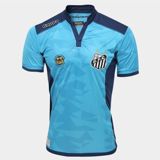 Camisa Santos Goleiro III 2016 s nº - Torcedor Kappa Masculina - Azul ab4d5ddef628f