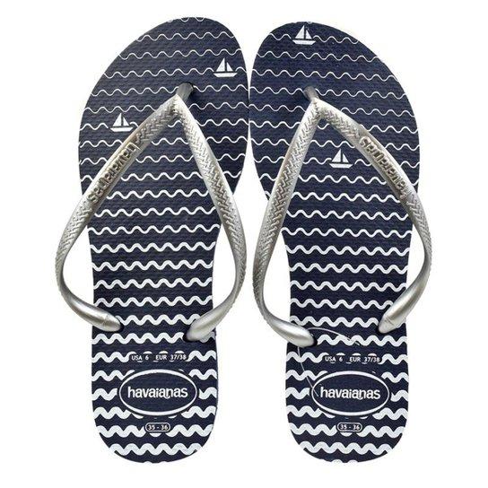 8b13cb8fc Chinelo Havaianas Slim Oceano Feminino - Azul - Compre Agora