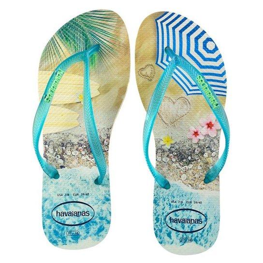 a59750f05a Chinelo Havaianas Slim Paisage Feminino - Azul